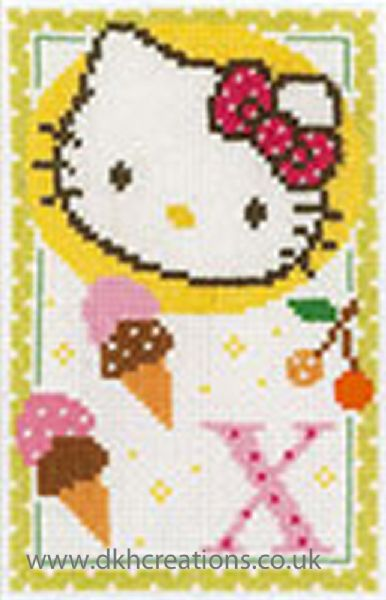 Hello Kitty Alphabet Letter X Cross Stitch Kit